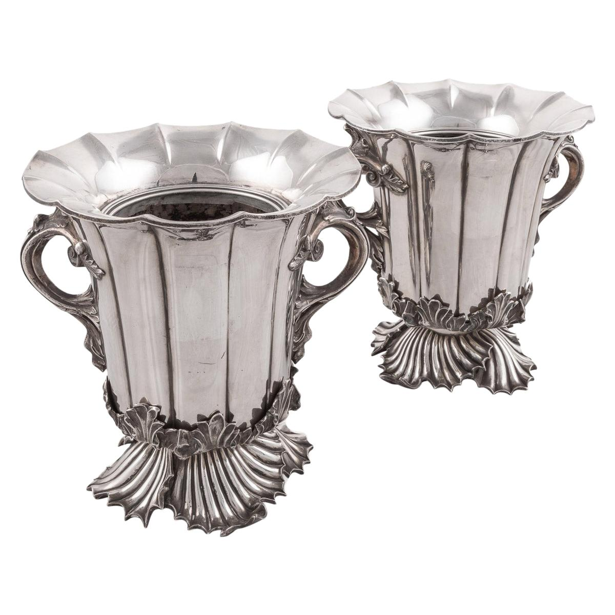 19th Century Pair of Old Sheffield Plated Wine Coolers, Sissons & Co, c.1840