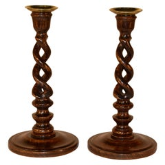 19th Century Pair of Open Twist Candlesticks