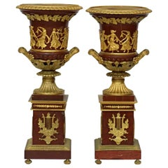 19th Century Pair of Ormolu Mounted Rouge Marble Urns