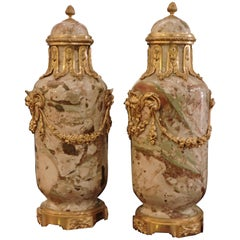 19th Century Pair of Ormolu-Mounted Sarrancolin Marble Cassolettes, circa 1880