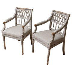 19th Century Pair of Painted Swedish Lattice Back Chairs with Spindle Supports