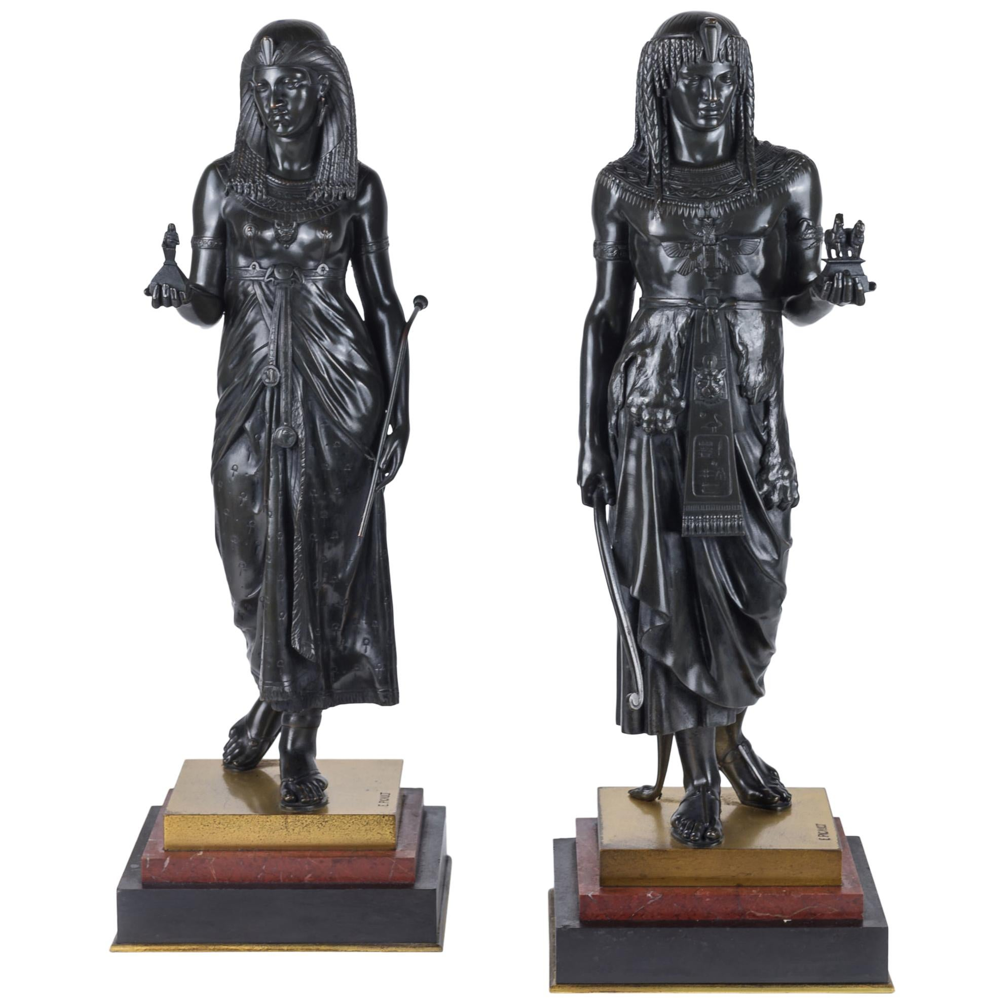 19th Century Pair of Patinated Bronze Figural Sculpture by E. Picault