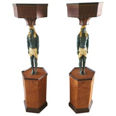 19th Century Pair of Pedestals, Coloumns Caryatids, Ebony, Maples burl, Marble