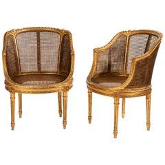 19th Century Pair of Petite French Gilt Wood Ballroom Round Chairs, Louis XVI