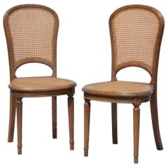 19th Century Pair of Petite French Side Chairs in Oval Shape, in Louis XVI Style