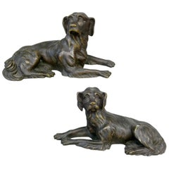 19th Century Pair of Pointer Hunting Dogs, 19th Century Animal Bronze