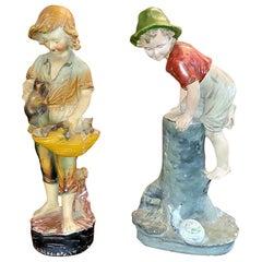 19th Century Pair of Polish/German Stoneware Figures