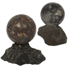 19th Century Pair of Polished Marmo Marble Sphere Paperweights