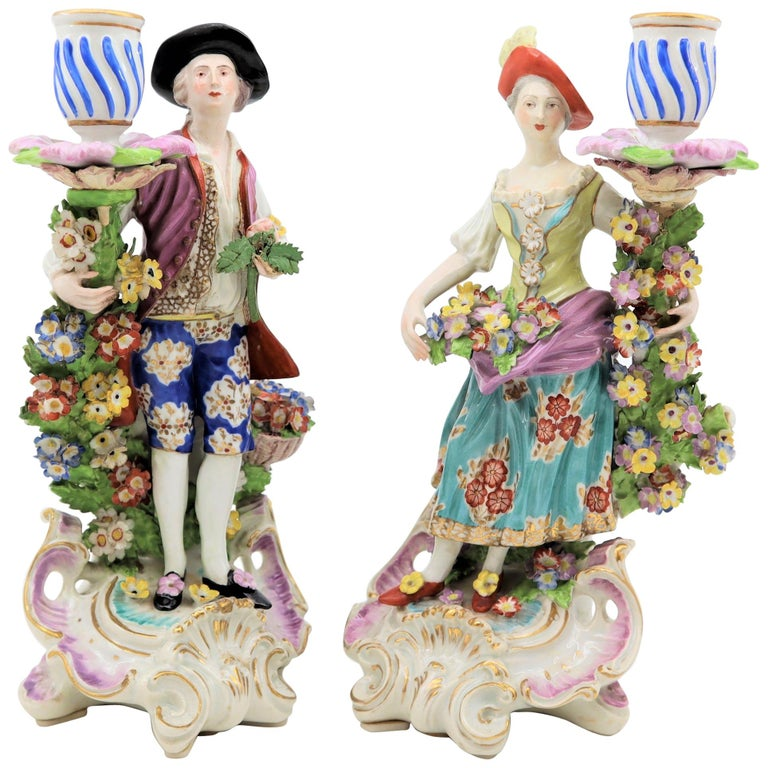 19th Century, Pair of Porcelain Candlesticks, Derby England For Sale