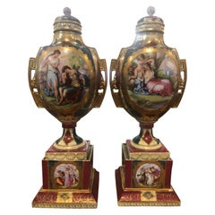 19th Century Pair of Porcelain Painted and Gilded Vienna Vases, 1880s
