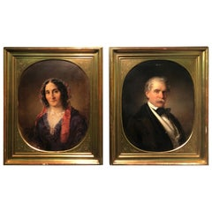 19th Century Pair of Portraits Paintings by Eduard Ender