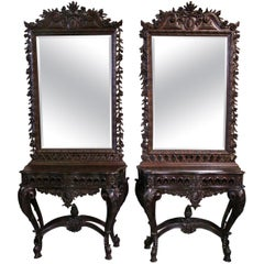 19th Century Pair of Portuguese Rococo Style Console Tables and Mirrors