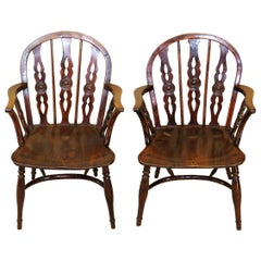 "19th Century Pair of ""Prior"" Yew Wood Windsor Armchairs"