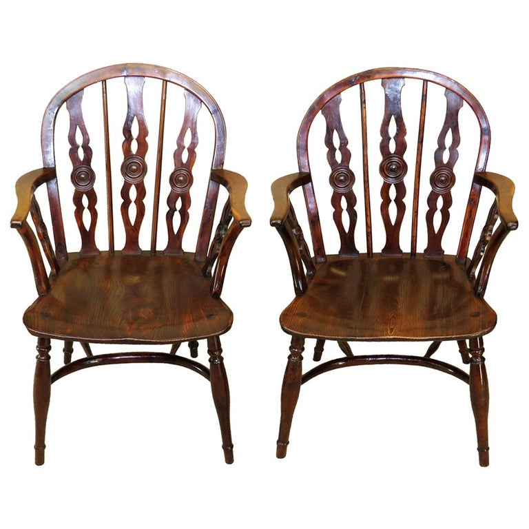 """19th Century Pair of """"Prior"""" Yew Wood Windsor Armchairs"""