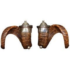 19th Century Pair of Ram's Horn Snuff Mulls