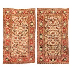 19th Century Pair of Red and Yellow over Beige Background Wool Indian Agra Rugs