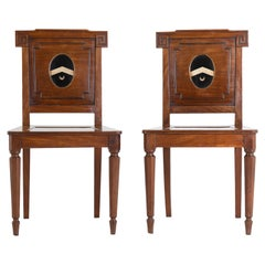 19th Century Pair of Regency Mahogany Hall Chairs