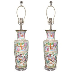 19th Century Pair of Rose Canton Vases as Lamps