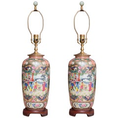 19th Century Pair of Rose Medallion Vases/Lamps
