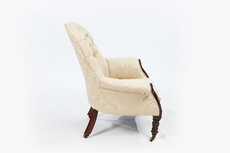 Irish 19th Century Pair of Round-back Upholstered Armchairs For Sale