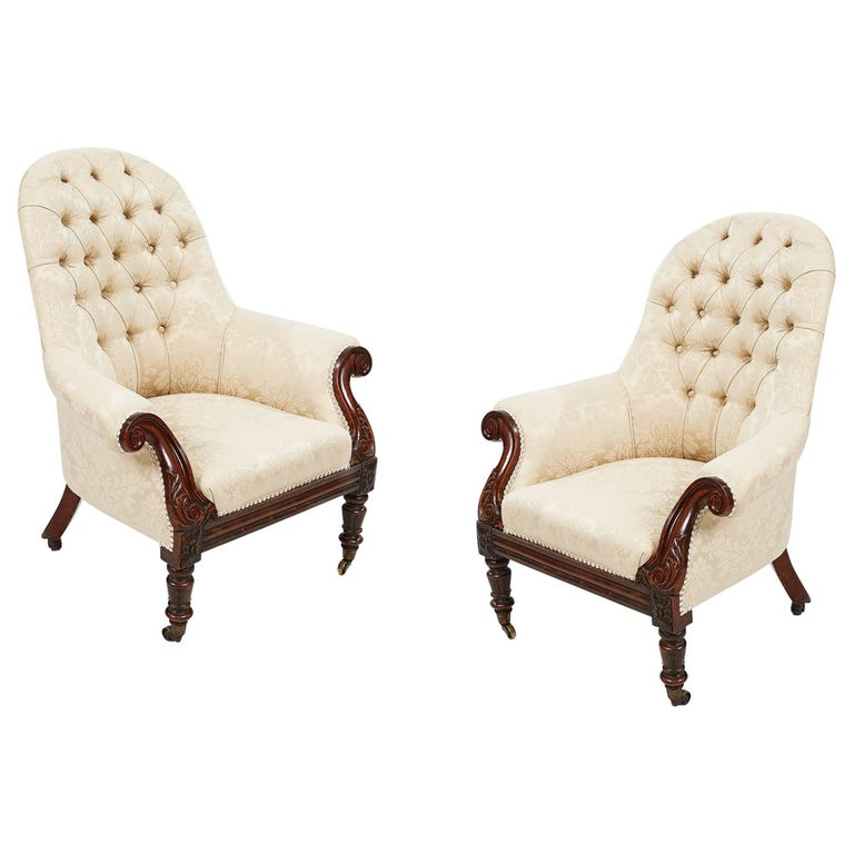 19th Century Pair of Round-back Upholstered Armchairs For Sale