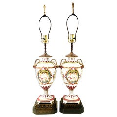 19th Century Pair of Royal Vienna Style Porcelain Hand Painted Portrait Lamps