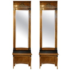 19th Century Pair of Russian Birch wood Mirrors and Consoles
