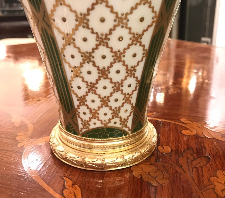 19th Century Pair of Sèvres French Porcelain and Ormolu Vases In Excellent Condition In Lambertville, NJ