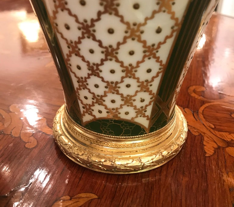 19th Century Pair of Sèvres French Porcelain and Ormolu Vases 4