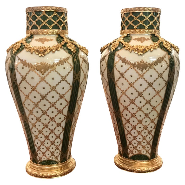 19th Century Pair of Sèvres French Porcelain and Ormolu Vases