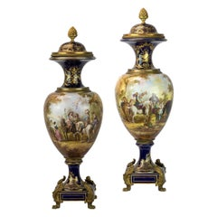 19th Century Pair of Sèvres Style Ormolu-Mounted Cobalt Blue Porcelain Vases