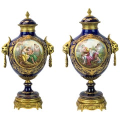 19th Century Pair of Sèvres Style Ormolu Mounted Cobalt Blue Porcelain Vases