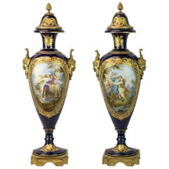 19th Century Pair of Sèvres Style Ormolu-Mounted Gilt Bronze Cobalt Blue Vases