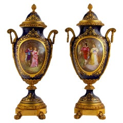 19th Century Pair of Sevres Style Ormolu Mounted Porcelain Urns and Cover