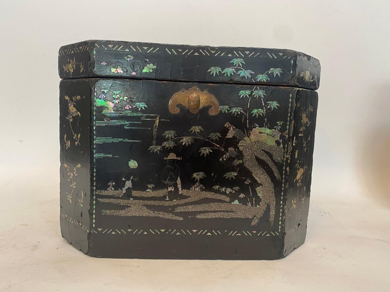 19th Century Two Shell Inlaid Black Lacquer Big Chinese Storage Boxes For Sale 6