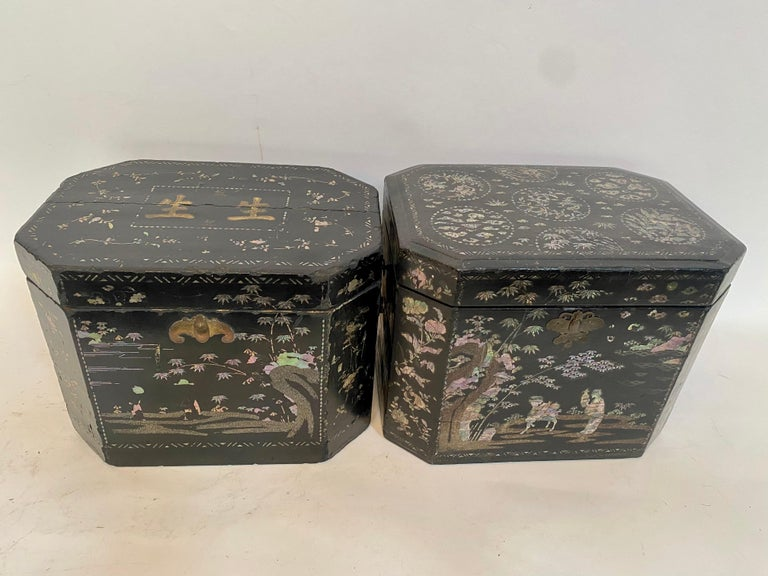 19th Century Two Shell Inlaid Black Lacquer Big Chinese Storage Boxes For Sale 7