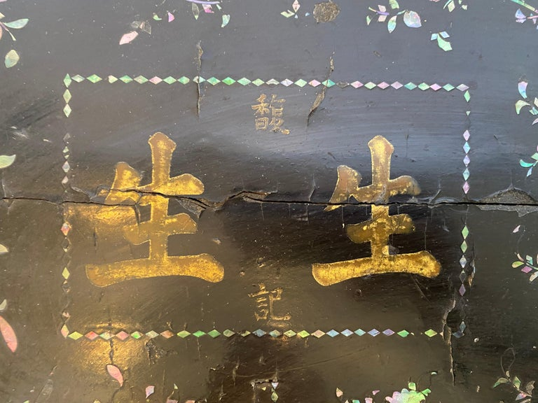 19th Century Two Shell Inlaid Black Lacquer Big Chinese Storage Boxes For Sale 13