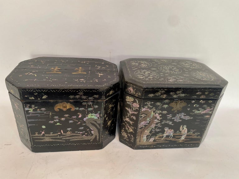 Qing 19th Century Two Shell Inlaid Black Lacquer Big Chinese Storage Boxes For Sale