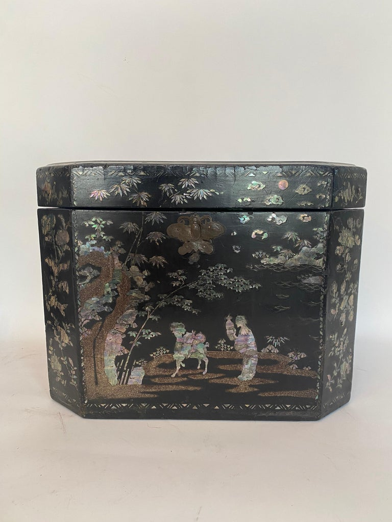 Hand-Crafted 19th Century Two Shell Inlaid Black Lacquer Big Chinese Storage Boxes For Sale