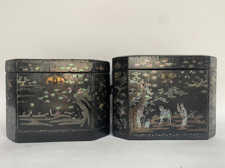 19th Century Two Shell Inlaid Black Lacquer Big Chinese Storage Boxes In Good Condition For Sale In Brea, CA
