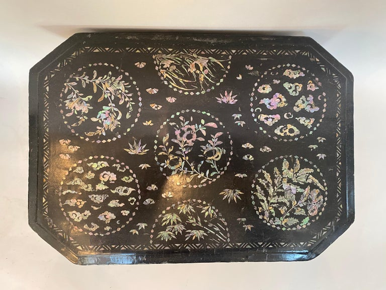 19th Century Two Shell Inlaid Black Lacquer Big Chinese Storage Boxes For Sale 1