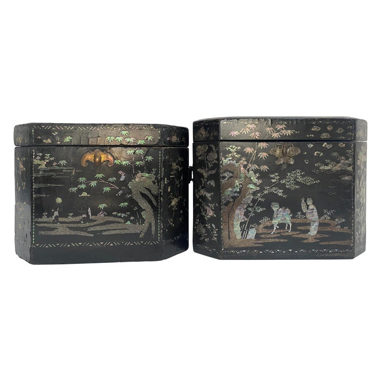 19th Century Two Shell Inlaid Black Lacquer Big Chinese Storage Boxes For Sale