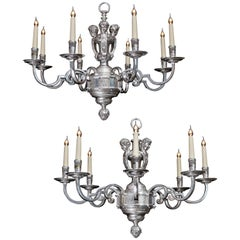 19th Century Pair of Silvered Eight-Light Chandeliers in the Louis XIV Style