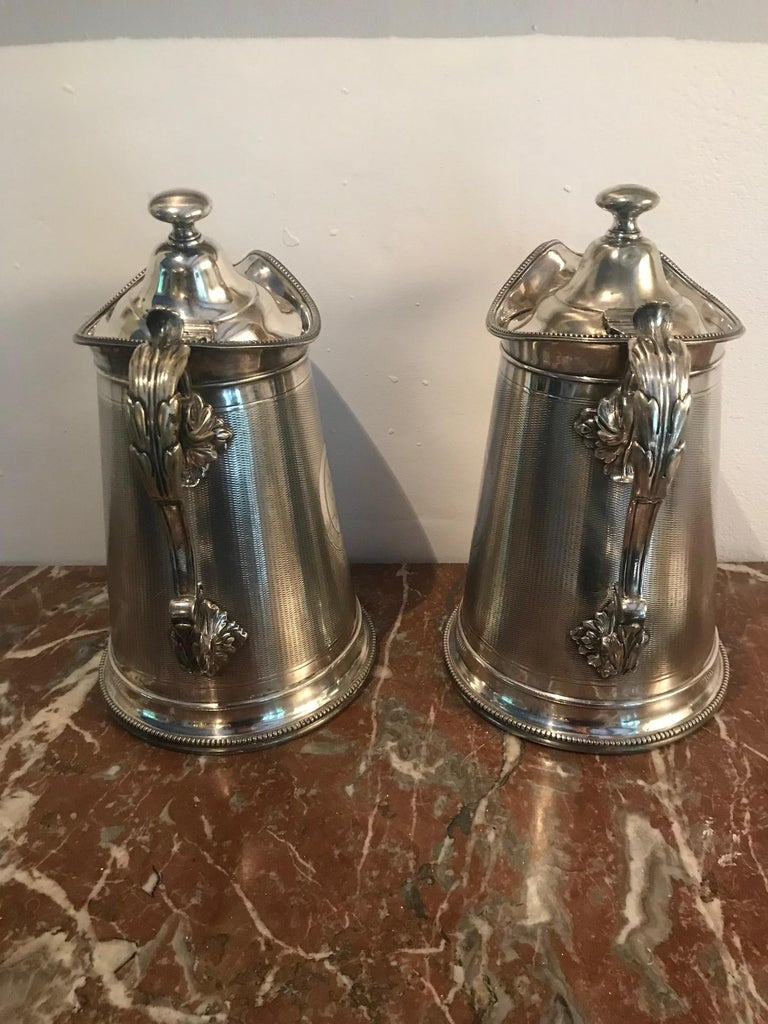 19th Century Pair of Silverplate Water Jugs/Pitchers For Sale 7