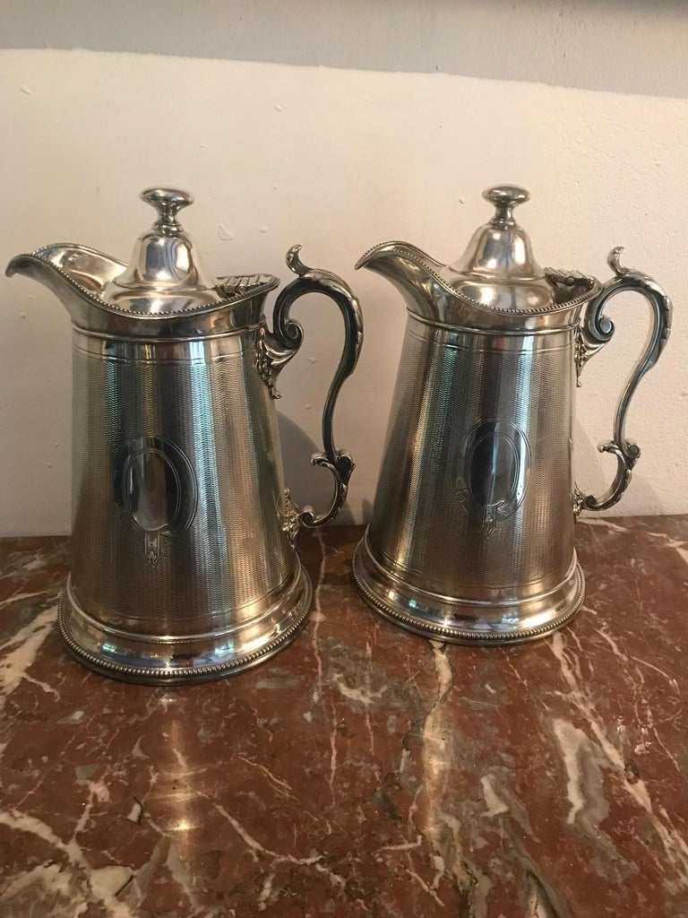19th Century Pair of Silverplate Water Jugs/Pitchers For Sale 8