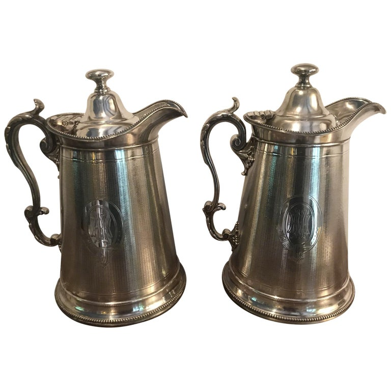 19th Century Pair of Silverplate Water Jugs/Pitchers For Sale
