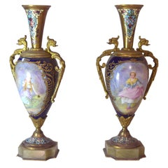 19th Century Pair of Small Old Sèvres Blue Porcelain Vases