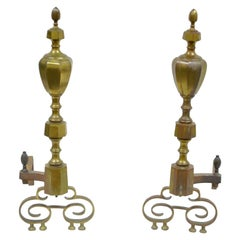 19th Century Pair of Solid Brass American Federal Fireplace Mantle Andirons