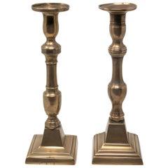 19th Century Pair of Spanish Bronze Candleholders