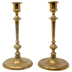 19th Century Pair of Spanish Bronze Candleholders